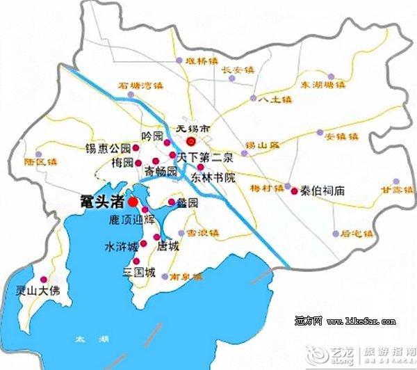 无锡太湖鼋头渚赏花出游地图图片