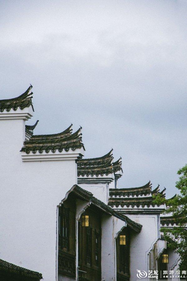 中式街道背景手绘