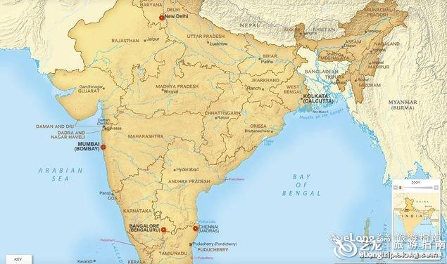 印度重点城市地图
